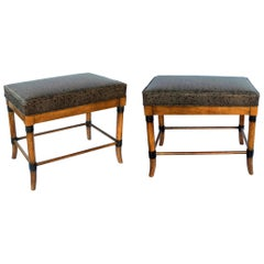 Pair of American 1960s Ash Faux Bamboo Rectangular Stools/Benches