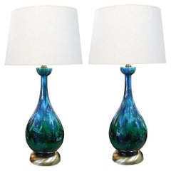 Pair of American 1960s Bottle-Form Emerald Green and Blue Drip-Glaze Lamps