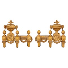 Pair of American 19th Century Louis XVI Style Signed Ormolu Andirons