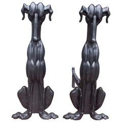 Pair of American Art Deco Cast Iron Sporting Dog Andirons with Rear Legs C. 1900