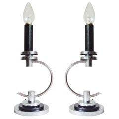 Pair of American Art Deco Chrome and Black Enamel Candle-Form Table Lamps