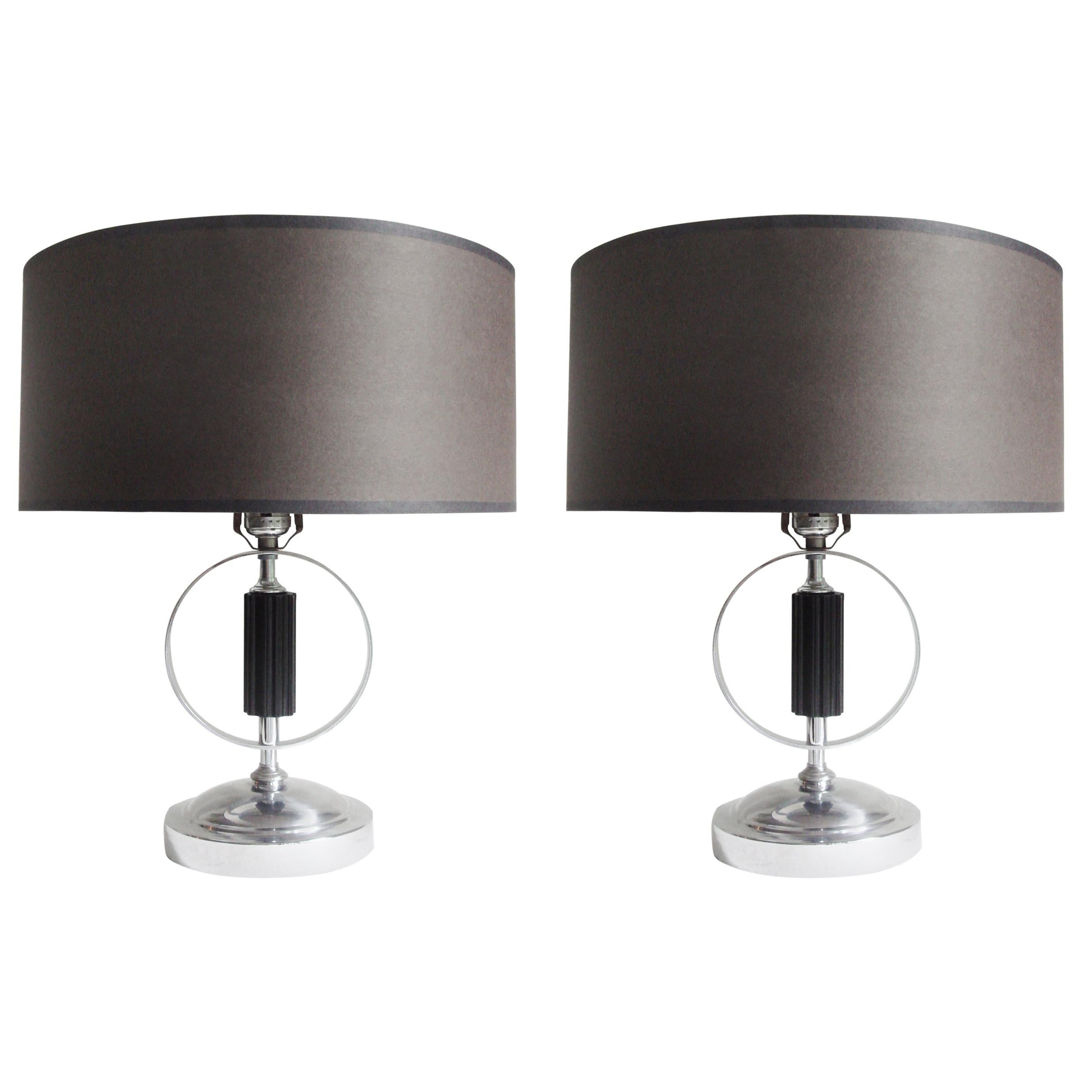 Pair of American Art Deco Chrome and Lacquered Wood Table Lamps