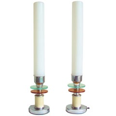 Pair of American Art Deco Chrome, Enamel, Two-Tone & Milk Glass Tall Table Lamps