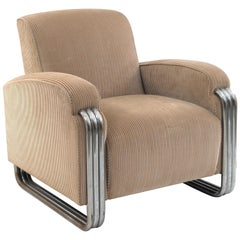 Pair of American Art Deco Club Form Arm Chairs