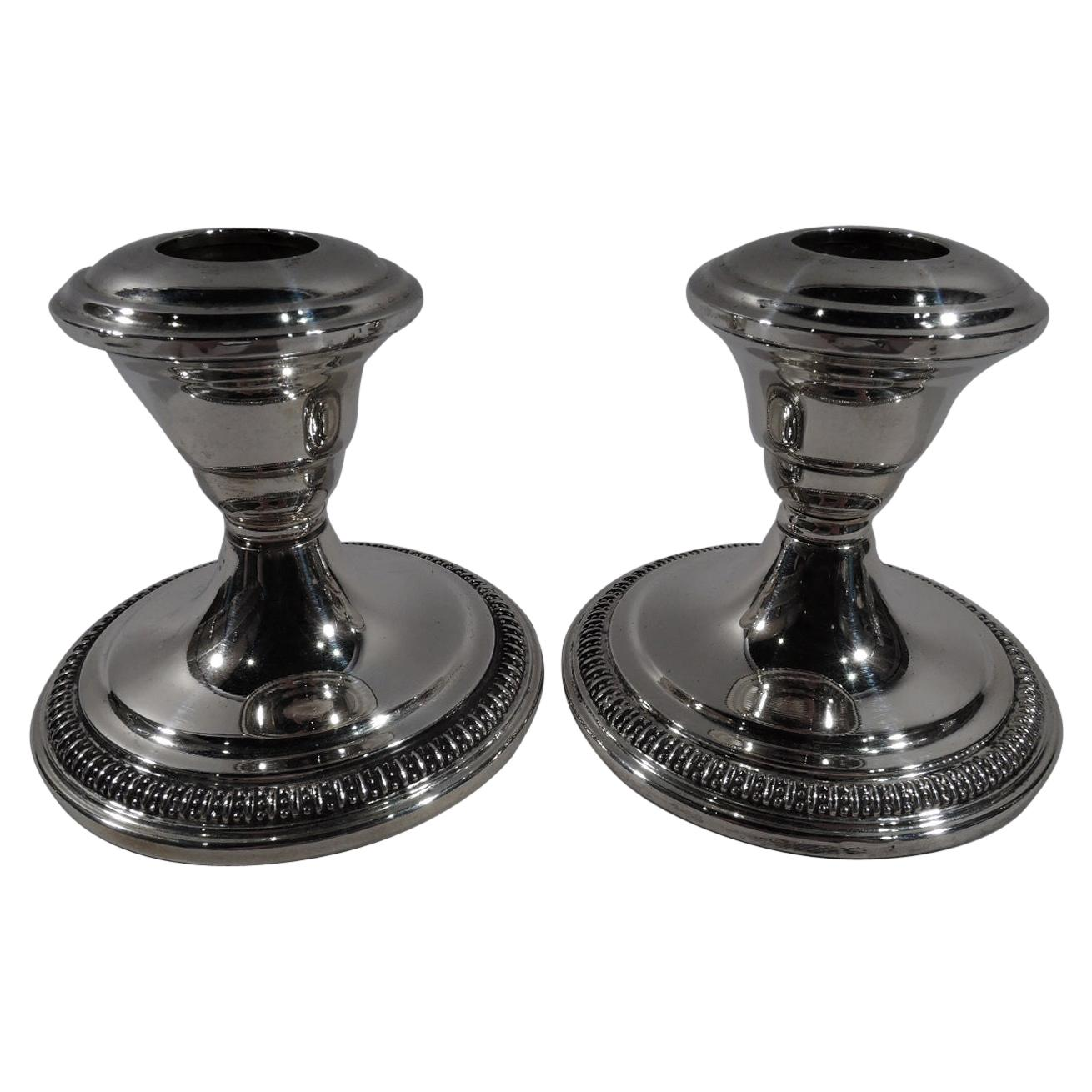 Pair of American Art Deco Sterling Silver Low Candlesticks