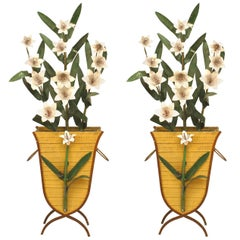 Pair of American Art Moderne '1940s-1950s' Painted Tole Basket