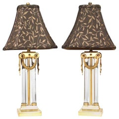Pair of American Art Moderne Brass and Glass Table Lamps
