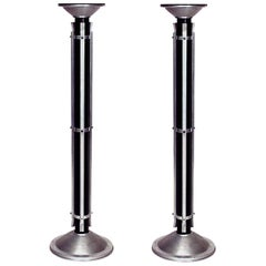 Pair of American Art Moderne Chrome Trimmed and Ebonized Pedestals