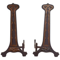 Pair of American Arts and Crafts Cast Iron and Copper Andirons, circa 1890-1900