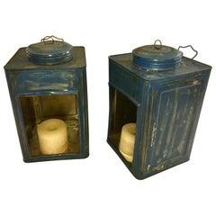Pair of American Blue Tea Tin Lanterns