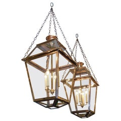 Pair of American Brass and Copper Hanging Glass Lanterns Orig. Gas, Circa 1810