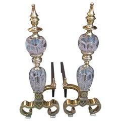 Pair of American Brass and Crystal St. Clair Flanking Finial Andirons Circa 1900