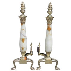 Pair of American Brass & Onyx Flame Finial Andirons with Acanthus Feet, C. 1850