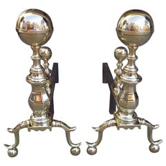 Pair of American Brass Ball Finial Andirons with Matching Log Stops, MA C. 1830