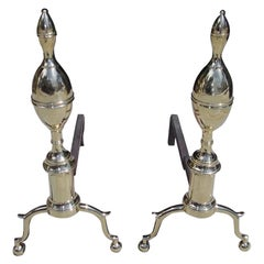 Pair of American Brass Double Lemon Andirons with Spur Legs & Ball Feet. C. 1810