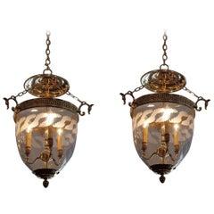 Pair of American Brass Hanging Foliage Etched Greek Key Bell Jar Lanterns C 1870