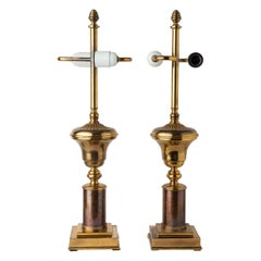 Pair of American Brass Lamps with Double Bulbs