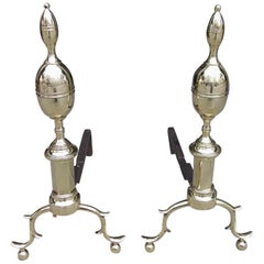Pair of American Brass Lemon on Lemon Andirons with Spur Legs, N.Y. Circa 1810
