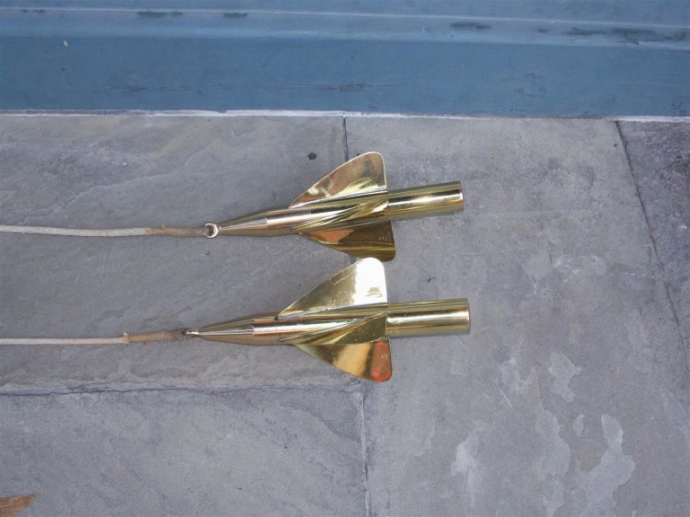 Cast Pair of American Brass Nautical Taffrail Log Spinners, Negus, NY, Circa 1880 For Sale