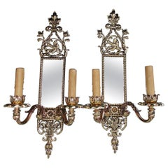 Pair of American Brass over Copper Bird and Acanthus Mirrored Sconces Circa 1870