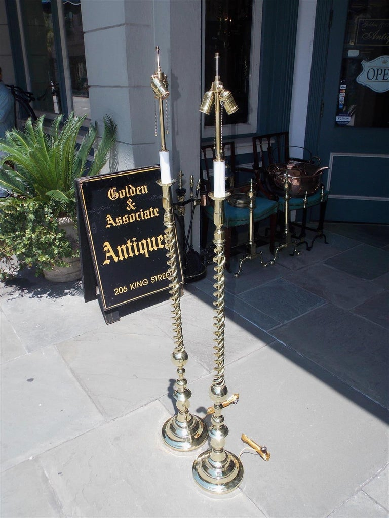 American Empire Pair of American Brass Spiral and Bulbous Form Floor Lamps. Orig Candle. C. 1880 For Sale