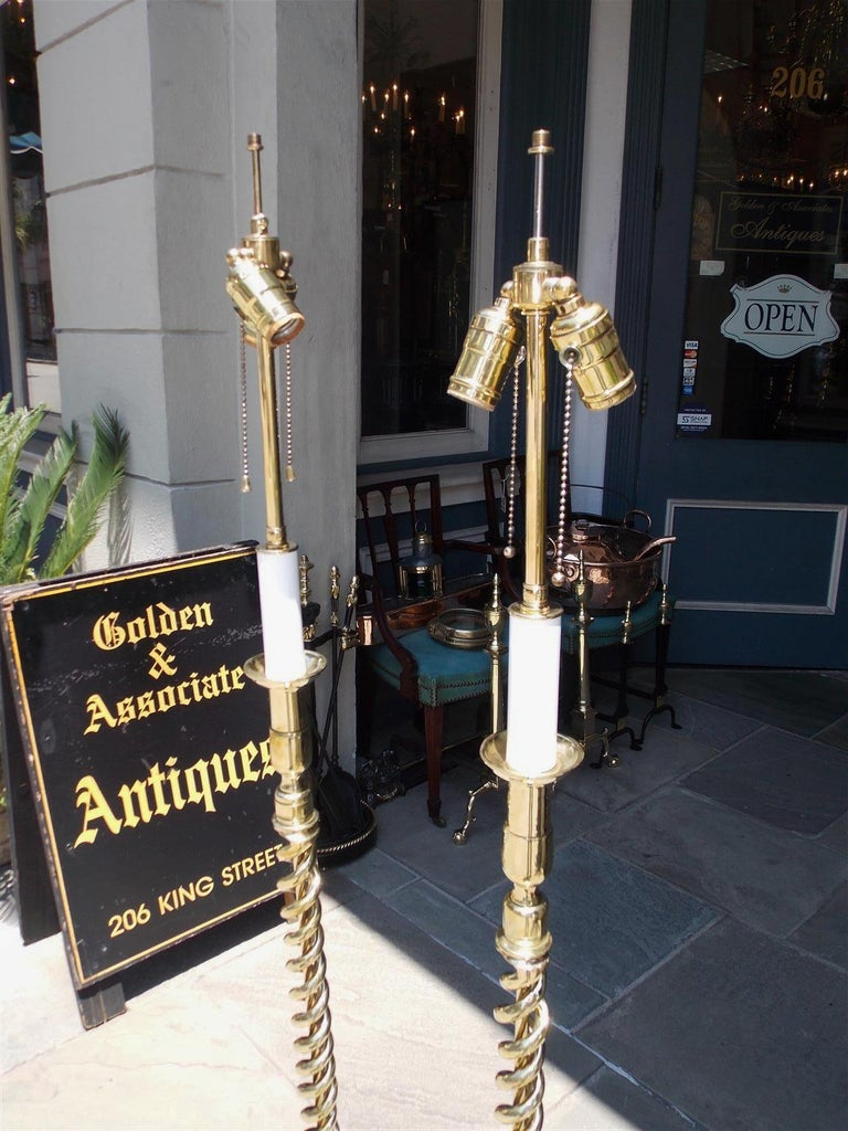 Cast Pair of American Brass Spiral and Bulbous Form Floor Lamps. Orig Candle. C. 1880 For Sale