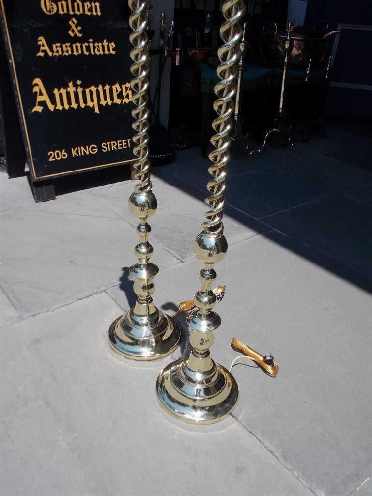 Pair of American Brass Spiral and Bulbous Form Floor Lamps. Orig Candle. C. 1880 In Excellent Condition For Sale In Charleston, SC