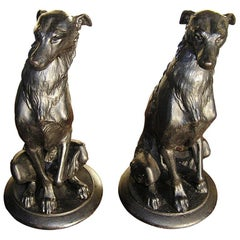 Pair of American Bronze Dog Sculpures