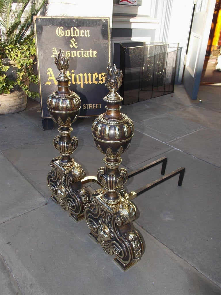 American Empire Pair of American Bronze Figural and Ball Top Flame Finial Andirons, N.Y. C. 1880 For Sale