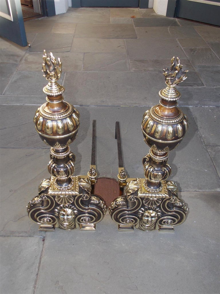 Cast Pair of American Bronze Figural and Ball Top Flame Finial Andirons, N.Y. C. 1880 For Sale