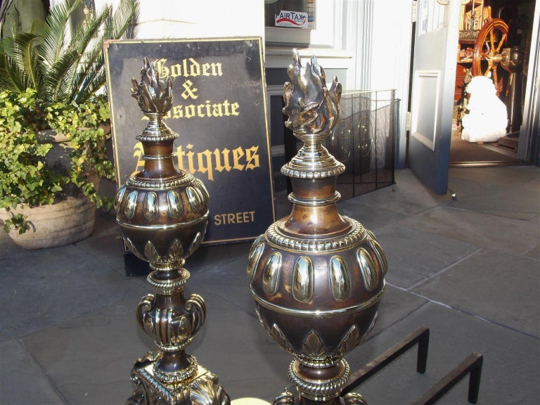 Pair of American Bronze Figural and Ball Top Flame Finial Andirons, N.Y. C. 1880 In Excellent Condition For Sale In Charleston, SC