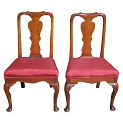 Pair of American Burl Walnut Queen Anne Side Chairs, Pa., Circa 1800