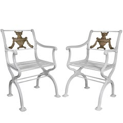 Pair of American Cast Iron Armchairs