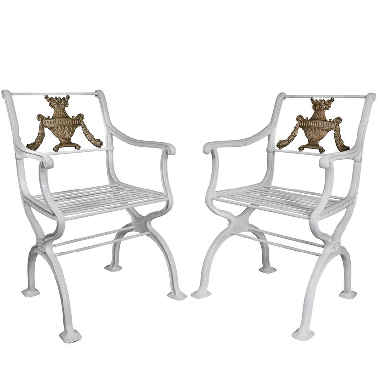 Pair of American Cast Iron Armchairs For Sale