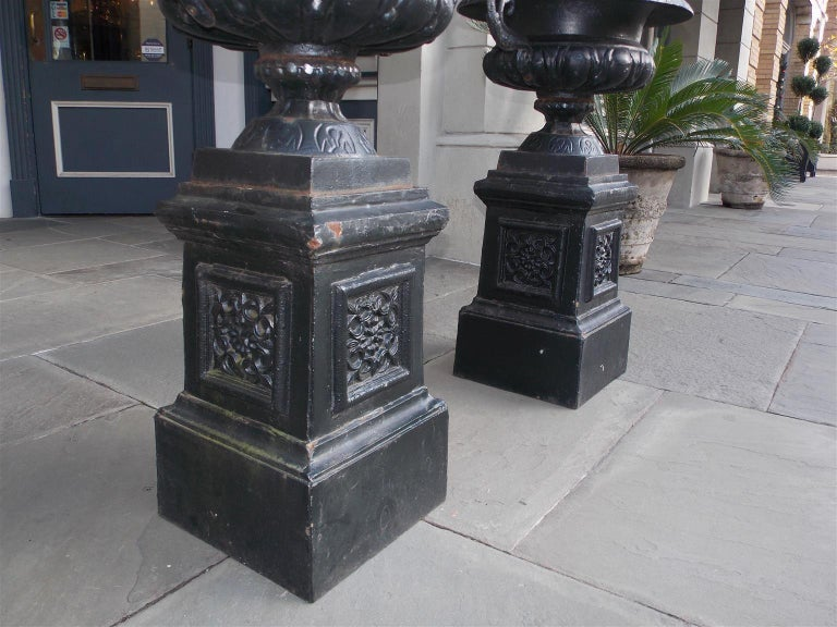 Pair of American Cast Iron Campana-Form Floral Garden Urns on Plinths Circa 1890 For Sale 5
