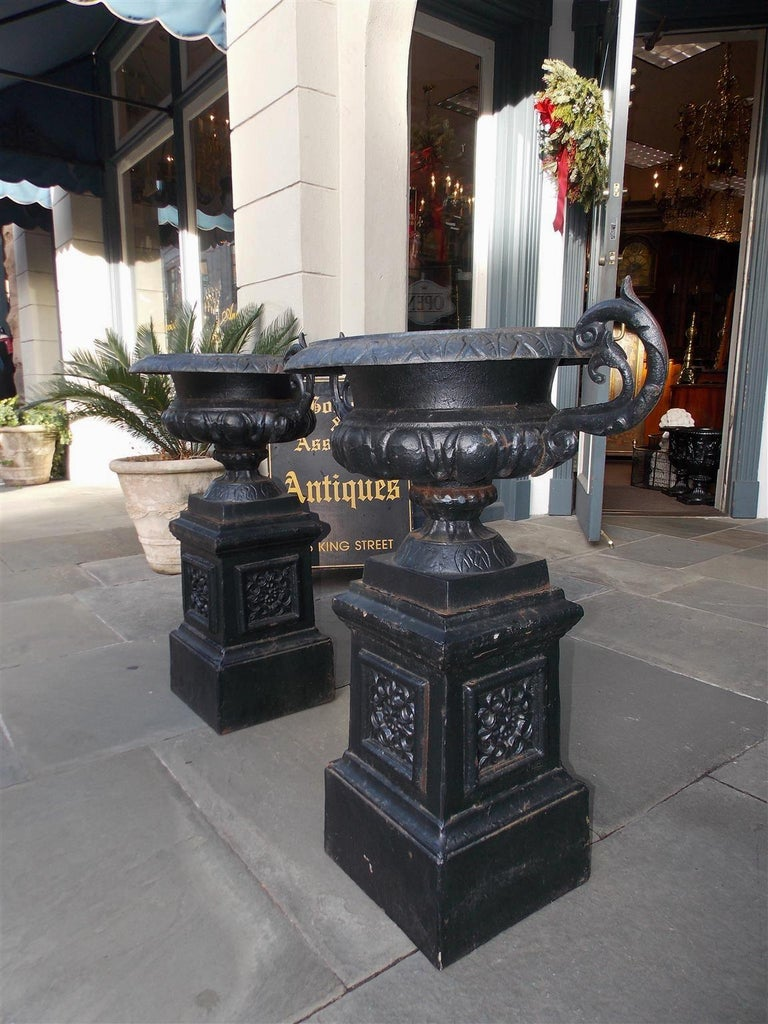 Pair of American Cast Iron Campana-Form Floral Garden Urns on Plinths Circa 1890 For Sale 6