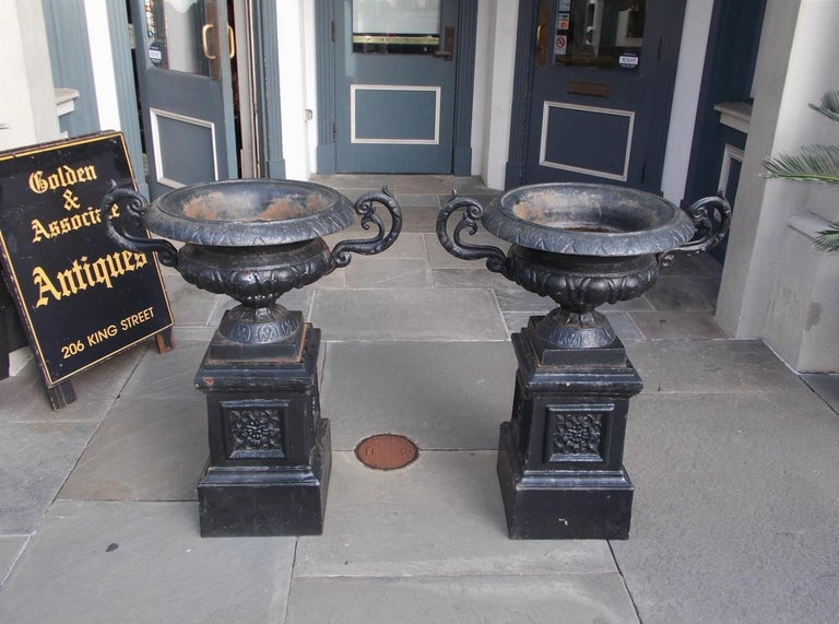 American Empire Pair of American Cast Iron Campana-Form Floral Garden Urns on Plinths Circa 1890 For Sale