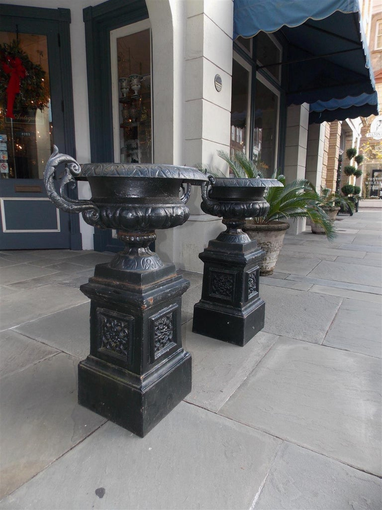 Pair of American Cast Iron Campana-Form Floral Garden Urns on Plinths Circa 1890 For Sale 3