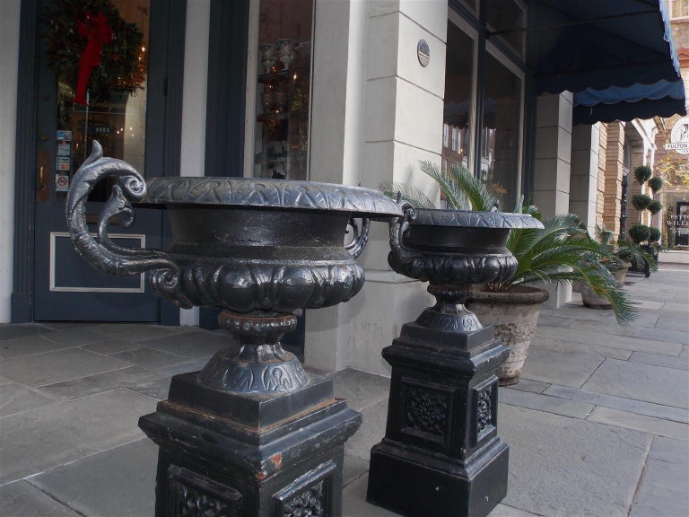 Pair of American Cast Iron Campana-Form Floral Garden Urns on Plinths Circa 1890 For Sale 4