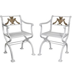 Pair of American Cast Iron Garden Chairs by W.A Snow, Boston