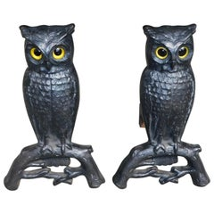 Pair of American Cast Iron Perched Owl Andirons with Orig. Eyes, Boston, C. 1890
