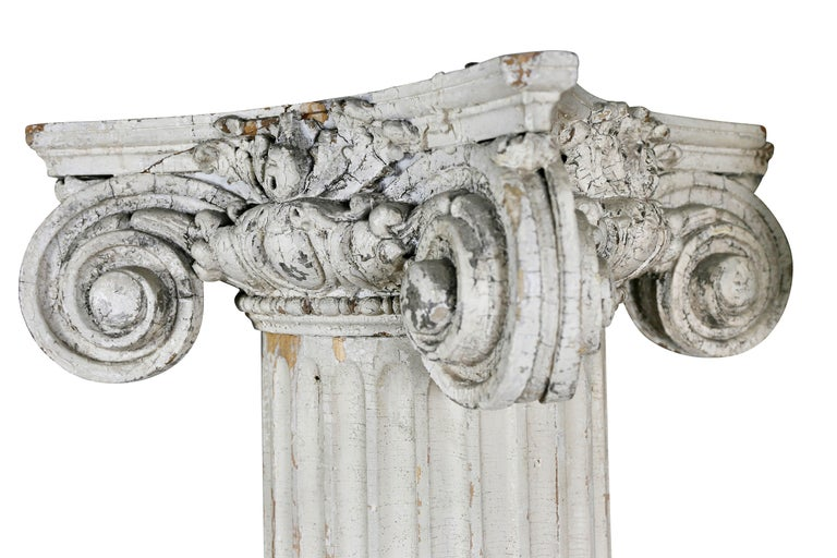 Federal Pair of American Classical Carved Wood Ionic Columns For Sale
