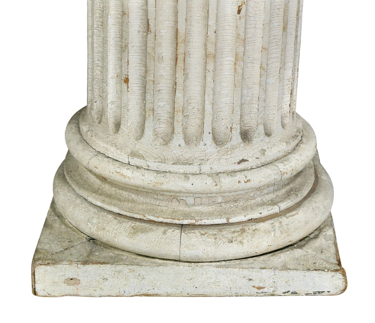 Pair of American Classical Carved Wood Ionic Columns For Sale 1