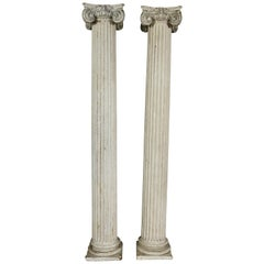 Pair of American Classical Carved Wood Ionic Columns