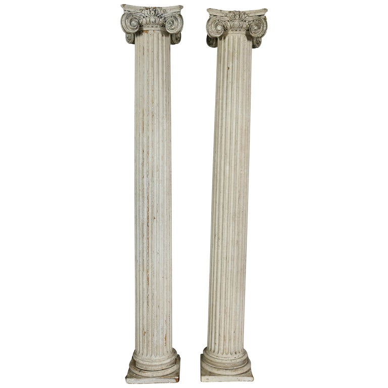 Pair of American Classical Carved Wood Ionic Columns For Sale