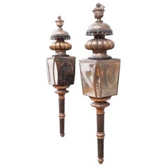 Pair of American Coach Lanterns with Urn Finials