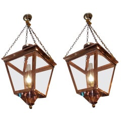 Pair of American Copper and Brass Hanging Glass Lanterns, Orig Gas, Circa 1810