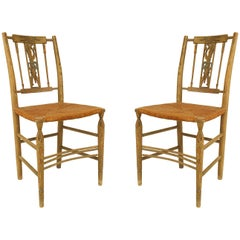 Pair of American Country Grey Painted Side Chairs
