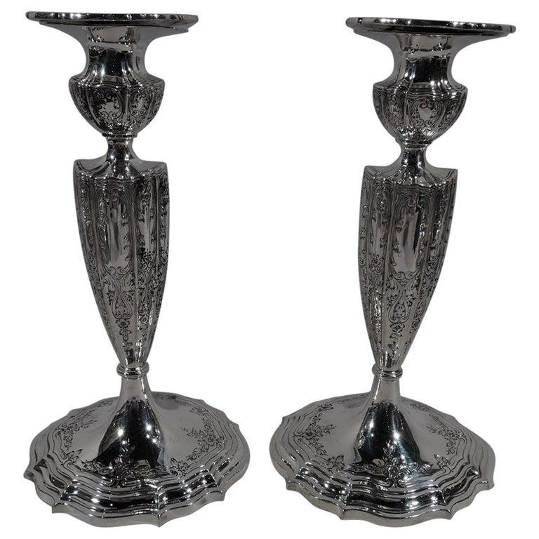 Pair of American Edwardian Regency Sterling Silver Candlesticks For Sale