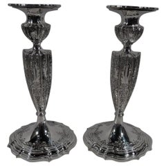 Pair of American Edwardian Regency Sterling Silver Candlesticks